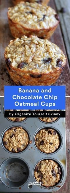 Nine breakfast cups - eat-on-the-run; on the go Banana and Chocolate Chip Oatmeal Cups healthy breakfast recipes quick easy Granola, Weight Watcher Desserts, Muffin Tin Recipes, Muffin Tin Meals, Muffin Pans, Breakfast Cups, Breakfast Healthy, Healthy Breakfasts, Banana Breakfast Recipes