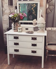"""Lovely shabby chic Victorian dressing table with three drawers, hand-painted in Annie Sloan's """"Old w Unique Furniture, Shabby Chic Furniture, Used Stuff For Sale, Dresser, Victorian, Dressing Table, Bedroom, Home Decor, Powder Room"""