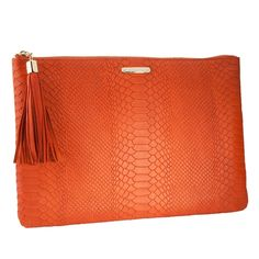 "Orange Uber Clutch | Embossed Python Leather | GiGi New YorkTo compliment your chic style, this slim yet voluminous clutch can fit more then you would think! Full Grain Embossed Python Leather Top zipper closure 13 ¼"" W x 9 ¼"" H Personalization available up to 3 initials Initials stamped to match hardware $130"