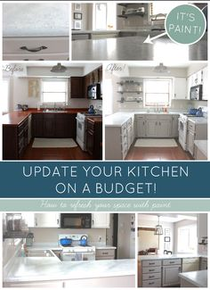 Kitchen makeover on a budget! AMAZING WHAT A LITTLE PAINT CAN DO! Transform your kitchen with Giani Granite Countertop Paint for under $100! #DIY www.thethomehome.com