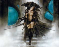 luis_royo_fantastic art_alia and view of the valley of doom. Art And Illustration, Illustrations, Fantasy Girl, Dark Fantasy, Luis Royo, Spanish Artists, Fantasy Kunst, Poster S, Art Graphique