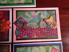 Lime of flowers with butterfly. Handmade card using Gelli plate and mixed media.