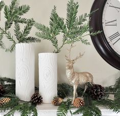 {faux bois vases #howto} with glass vases, glue, frosted glass spray paint and white primer paint. love it!