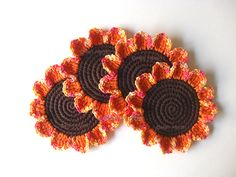Crochet Coasters Autumn Daisies ~ Crochet Colorful