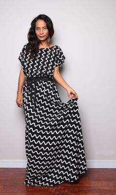 Maxi Dress / Black and White Dress : Relaxing in the Garden Collection