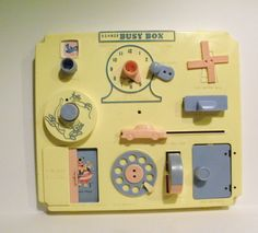 Vintage Busy Box crib toy, 1960's - 1970's.