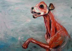 """Kacper Piskorowski """"Dog"""" olej na płycie, 120 - 100, 2013 r."""