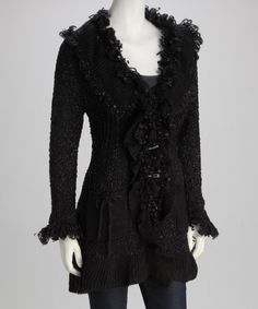 Take a look at this Michael K Black Fringe Knit Jacket by Michael K on #zulily today!