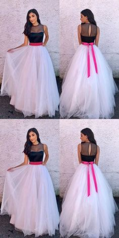 Elegant Prom Dresses, A-Line Jewel Sweep Train White Tulle Prom Dress with Sash Shop for La Femme prom dresses. Elegant long designer gowns, sexy cocktail dresses, short semi-formal dresses, and party dresses. Pageant Dresses For Teens, Formal Dresses For Women, Party Wear Dresses, Party Gowns, Prom Dresses, Graduation Dresses, Party Party, Long Dresses, Ideas Party