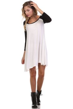 Baseball Hearts Tunic Pearl Knit Dress