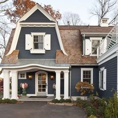 Exterior Paint Colors - You want a fresh new look for exterior of your home? Get inspired for your next exterior painting project with our color gallery. All About Best Home Exterior Paint Color Ideas Exterior Paint Schemes, Exterior Paint Colors For House, Paint Colors For Home, Exterior Design, Paint Colours, Navy House Exterior, Cottage Exterior, Gray Exterior, Dark Colors