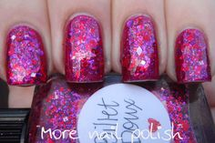 This is two thickly dabbled coats of Billet Doux layered over Zoya Alegra.  It then has four layers of top coat!  Seche Vite, Ulta3 Non-chip, Seche Vite, Ulta3 Non-chip