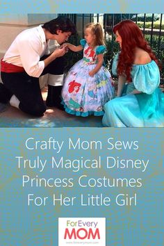 Mom makes amazing Disney Princess costumes and Disney character costumes for her daughter. Ariel costume, Snow White costume, Jack Skellington costume, Belle costume, Cruella de Vil costume, Cinderella costume