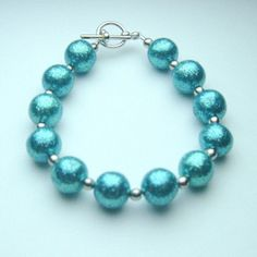 Handmade Clay Bracelet with Blue Glitter by LaRiSsAnnBEADSbyHand, $35.00