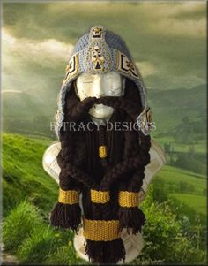 Lord of the Rings Inspired Dwarf Gimli Costume Helmet Only- Beard Pattern not available yet PATTERN PDF