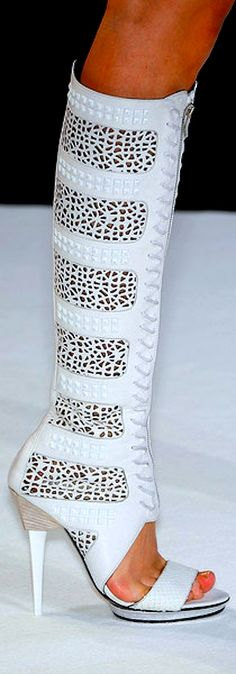 Barbara Bui ~ White Lace-up Leather Sandal Boot