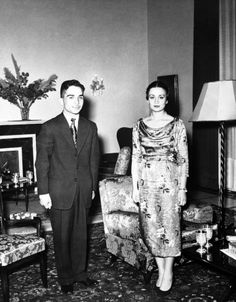 A pre- wedding picture of King Hussein of Jordan and Princess Dina Abdel Hamid, taken at the Royal Palace were the marriage was to be held. 20th April 1955.
