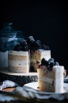 Blackberry Hazelnut Cake with Cream Cheese Frosting