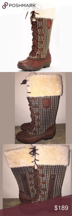 New UGG Edmonton boot Sz 8 winter plaid tall Brand new without box UGG Edmonton boots. Tagged a size 8. Brown leather with plaid sides. 1/2 zipper and lace up closure. Please see photos minor surface scuff on left boot from storage UGG Shoes Winter & Rain Boots