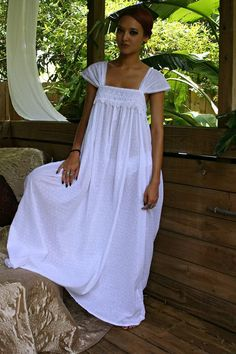 Limited Edition White Cotton Nightgown Dotted by SarafinaDreams Cotton  Lingerie b2469ac76