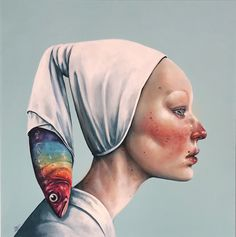 Illusion 6 by Afarin Sajedi 2017 Acrylic on canvas Cindy Sherman, Kunst Online, Macabre Art, Surrealism Painting, Anatomy Art, Art Drawings Sketches, Weird Art, Aboriginal Art, Portrait Art
