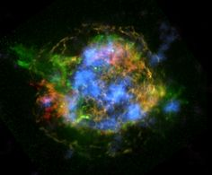 NuSTAR, NASA's high-energy orbiting X-ray observatory, has created the first map of radioactive material in a supernova remnant.  This helps astronomers figure out how stars blow up.  Image credit: NASA/JPL-Caltech/CXC/SAO.