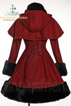 Classic Gothic Lolita: Heavy Wool & Fur Coat with Hood Cape - Back. PERFECT little red riding hood cosplay :) Lolita Fashion, Gothic Fashion, Moda Retro, Estilo Lolita, Mode Vintage, Dark Fashion, Blazer, Steampunk Fashion, Gothic Lolita