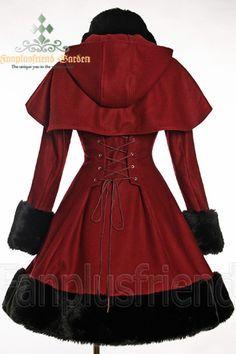 Classic Gothic Lolita: Heavy Wool & Fur Coat with Hood Cape - Back