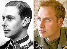 Proud heritage: King George VI (1895-1952) and great-grandson William have similar eyes and lips