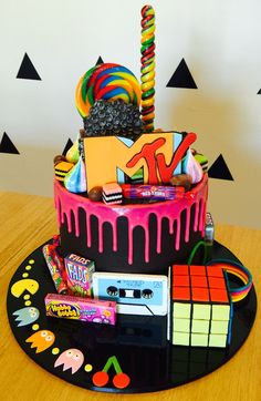 80s Mtv Loaded Drip Cake 40th Birthday Desserts 14th 13th