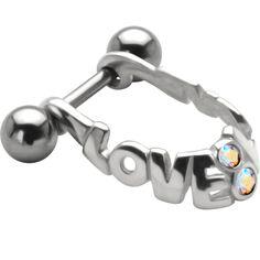 LOVE Micro Dangle - 925 Sterling Silver Helix Shield Cartilage Piercing Earring