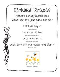 beginning of the year name game for younger grades  -touches on beat keeping and how to use inside-voices!