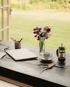 Inside the novelist's rustic writing studio in Glouchestershire, England.