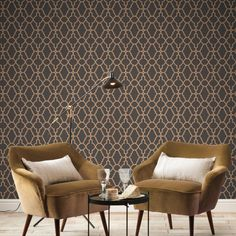 Rasch Casablanca Trellis Choc/Copper Metallic Wallpaper - A great way to transform any space in your home.  This eye-catching wallpaper has a Mediterranean feel and features an on-trend chocolate brown background and metallic Copper accents for a stunning finish. Brick Effect Wallpaper, Copper Wallpaper, Metallic Wallpaper, Luxury Wallpaper, Contemporary Wallpaper, Tree Wallpaper, Decorating Your Home, Interior Decorating, Stunning Wallpapers