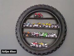 Wall decor for boys room - would also be cute with a mirror inside the tire. - Ideas of Decoration Car Bedroom, Kids Bedroom, Bedroom Decor, Motocross Bedroom, Motorcycle Nursery, Motorcycle Party, Girl Motorcycle, Motorcycle Quotes, Dirt Bike Room