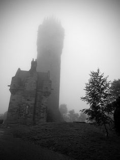 ✯ Fog over an Ancient Tower in Scotland ..Tower of William Wallace.. By Moyan Brenn✯