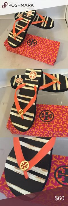 TORY BURCH SANDALS TORY BURCH SANDALS. NEW. BLCK AND ORANGE COLOR. WITH GOLD LOGO AT FRONT. SIZE;8. WITH BOX. Tory Burch Shoes Sandals