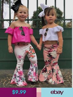Girls' Clothing (Sizes 4 & Up) Summer Toddler Baby Kids Girl Off Shoulder Tops+Bell-Bottoms Pant Set Outfit Toddler Girl Outfits, Little Girl Dresses, Toddler Fashion, Kids Outfits, Kids Fashion, Fashion Fashion, Baby Dress Design, Kids Girls, Baby Kids