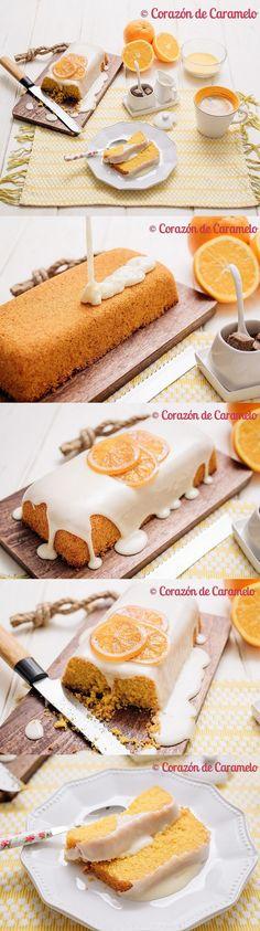 Bizcocho de polenta con glaseado de naranja / https://www.corazondecaramelo.es