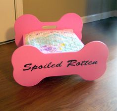 Custom Made Personalized Wooden Dog Bed by SassyFrassStudio, $79.95