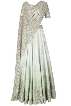Mint green ombre shaded floral motifs dori thread embroidered lehenga set available only at Pernia's Pop Up Shop.