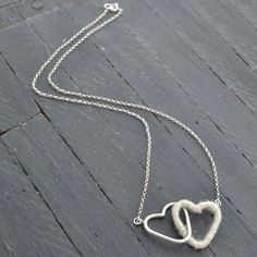 Silver & Wool Heart Necklace