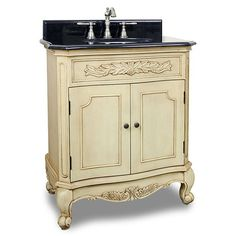 Elements 30 inch Clairemont White Antique Bathroom Vanity, MDF vanity features carved floral onlays and French scrolled legs for a traditional feel. The buttercream finish adds depth. A large cabinet provides ample storage White Vanity Bathroom, Bathroom Vanity Cabinets, Single Bathroom Vanity, Vanity Sink, Bath Vanities, Mirror Bathroom, Bathroom Furniture, Small Bathroom, Black Granite Countertops