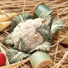 Nature's Bounty by Julie Kniedl, Cauliflower pin cushion made of quilted leaves with the center covered in french knots embroidery. French Knot Embroidery, Ribbon Embroidery, Embroidery Stitches, Embroidery Patterns, Japanese Embroidery, Art Patterns, Tatting Patterns, Needle Felted, Needle Book