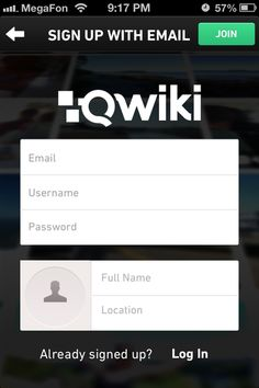 Qwiki -sign up