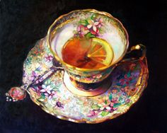I'm a fan of Rosemary Valendon's series of tea cups inspired by English Devonshire teas. 'Euphoria' is an oil on canvas (112cm x 137cm - 44in x 54in).