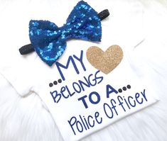 My Heart belongs to a police officer, daddy is my hero, daddys girl, newborn, pregnancy announcement, baby shower, halloween, new baby by PerfectlyPINKBow on Etsy https://www.etsy.com/listing/554458553/my-heart-belongs-to-a-police-officer