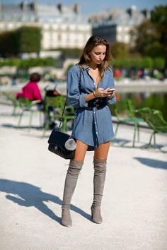 Oversized jeans shirt with high grey boots