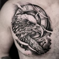 Birdman bringing the heat once again with this eagle-clock combo piece Birdman bringing the heat once again with this eagle-clock combo piece Chest Tattoo Wolf, Eagle Chest Tattoo, Cool Chest Tattoos, Chest Tattoos For Women, Chest Piece Tattoos, Pieces Tattoo, Tattoos For Guys, Tattoo Eagle, Clock Tattoo Design