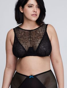 Lace High-Neck Unlined Balconette Bra (original price, EUR 56.06) available at #Maurices